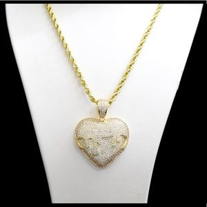 Other - Gold Finish Lab Diamond Melting Heart Charm Chain
